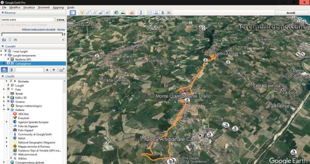 Tracciato Wikiloc in Google Earth