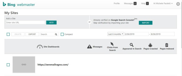 Import Google Search Console from Bing